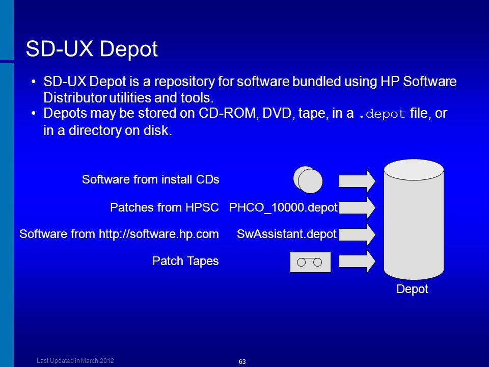 [Course Title] [Module Title] SD-UX Depot. SD-UX Depot is a repository for software bundled using HP Software Distributor utilities and tools.